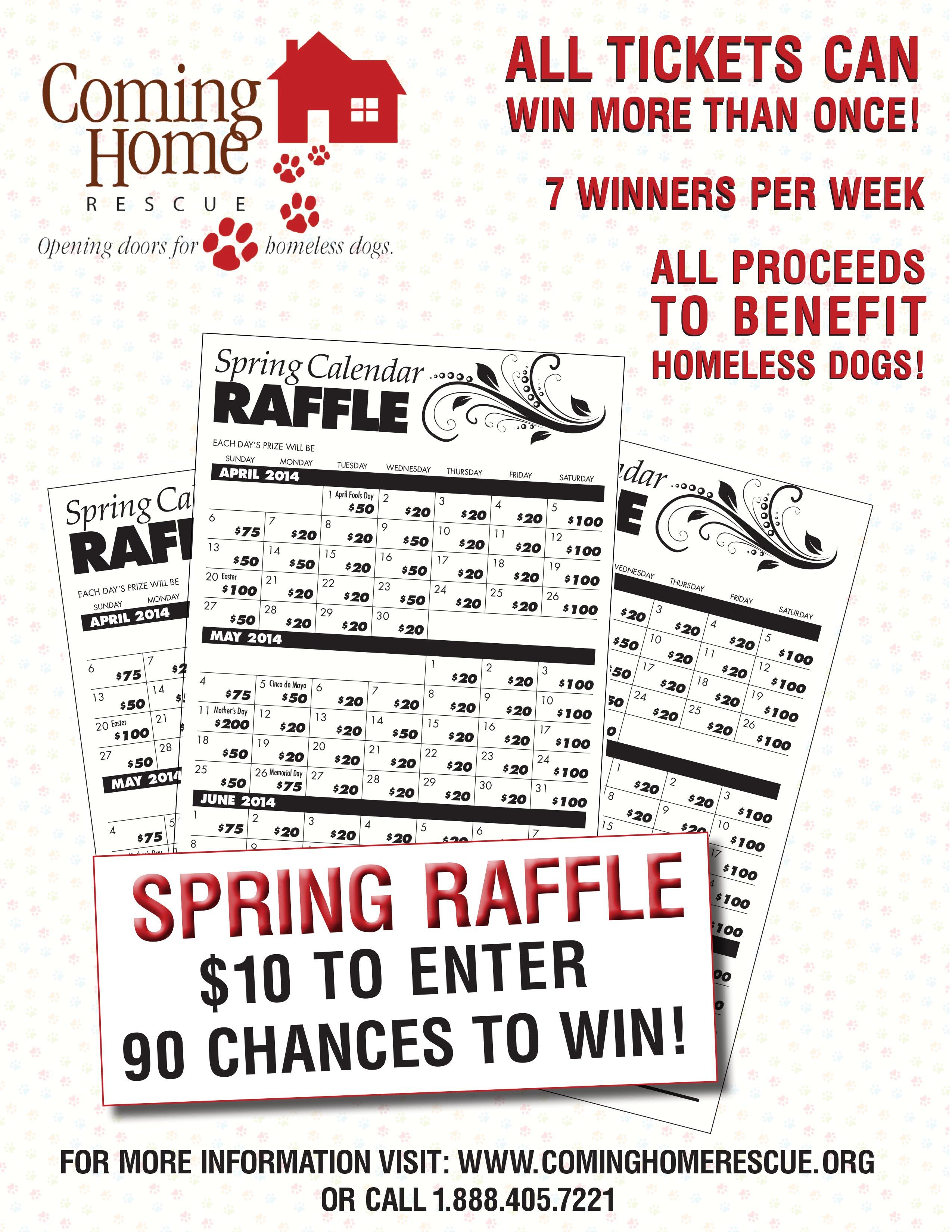 raffle cominghomerescue calendar raffle flyer 2014